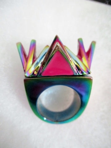NEW NIB EDDIE BORGO PINK BLACK METALLIC SPIKE PUNK Ring 5 Luxury