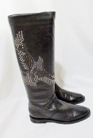 NEW JIMMY CHOO WYLIE EAGLE BIRD Leather BOOT 36.5 6 BLACK Moto