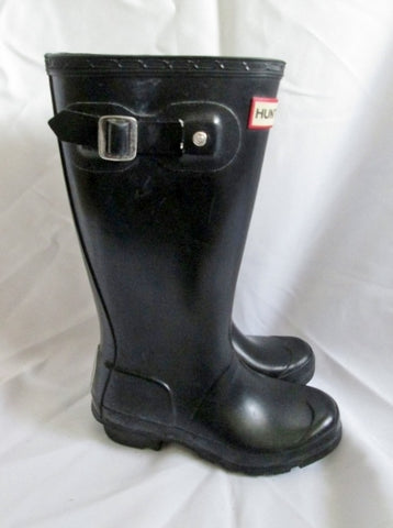 Preschool Girls Boys HUNTER  TALL KIDS Wellies Rain Boots BLACK 2 / 1 Gumboots