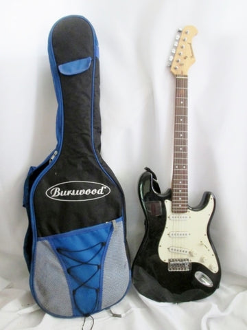 BURSWOOD Electric Guitar Musical Instrument 6 string BLACK Rock Band Gig Case Bag