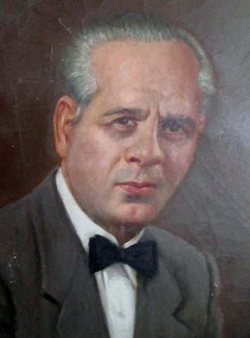"40"" Vintage 1960s G.G. FISCHER Original PAINTING Man Suit Portrait Picture ART"