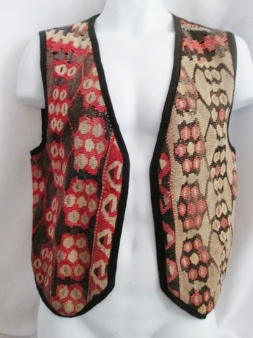 Womens Kilim Wool Blanket Ethnic Tapestry Carpet Sleeveless Jacket Coat RED BLACK Multi