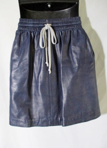 New CELINE LAMBSKIN LEATHER Mini Short SKIRT 36 4 NAVY BLUE GRAY Womens