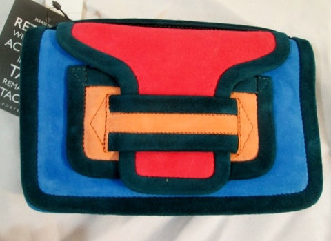 NEW PIERRE HARDY ALPHA SAC Clutch Shoulder Purse Bag QUADRI CORAL Suede NWT  Leather