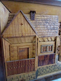 Vtg Carved Wood Diorama Picture Handmade Inlaid Folk Art HOUSE HOME LODGE TREE