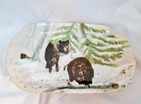 Hand Painted BOAR WILD PIG PLATTER Pottery BROWN WHITE ART 18""