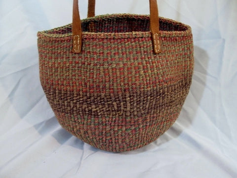 Woven JUTE Basket Sling Satchel Shoulder Market Bucket Bag PURPLE BROWN Ethnic