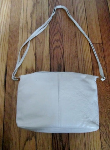 Vintage ETRA leather satchel shoulder bag purse crossbody CREME WHITE ECRU