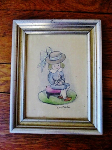 Signed MARIANA MARIAN FOSTER CURTISS Art Painting WATERCOLOR Boy Vintage