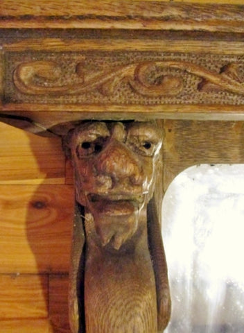 Handmade Carved Wood Primitive MIRROR Mantle Wall Hanging GARGOYLE Medieval Tabletop Vintage