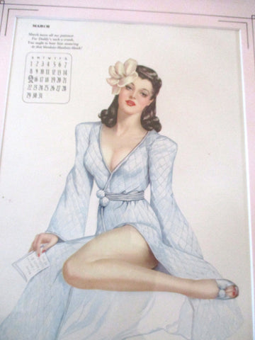 Vintage 1940s Alberto Vargas COVER GIRL Pinup Girl ART Print MISS MARCH Pin-Up