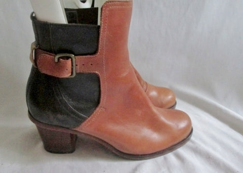 Womens J SHOES Brand HARDWICK Handcrafted LEATHER Ankle BOOTS Shoes BROWN 6.5 Block