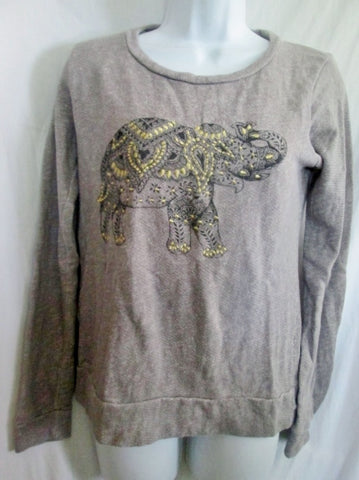 Womens LUCKY BRAND LOTUS Embroidered Elephant Sweatshirt Top S GRAY