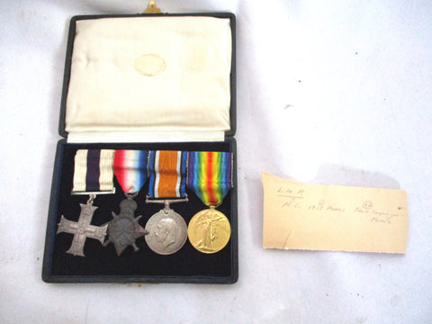 Antique 1914-1919 FRENCH CAMPAIGN Medals Service Great War WW1 Military Cross  Rack