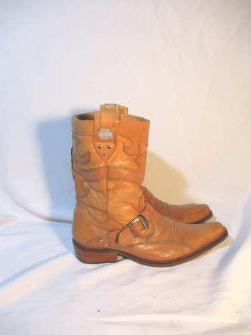 GBX Leather Western Cowboy Rocker Riding BOOT 10.5 BROWN Rider