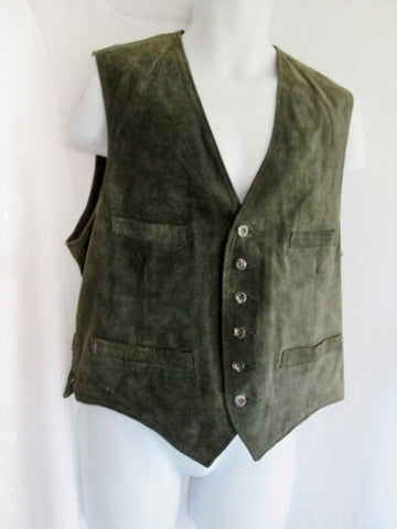 Mens GAP LEATHER SUEDE Sleeveless JACKET Coat VEST GRAY L Cowboy Western