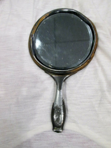 Vintage ANTIQUE VICTORIAN HAND Mirror Art Nouveau Deco Floral SILVERPLATE Monogram