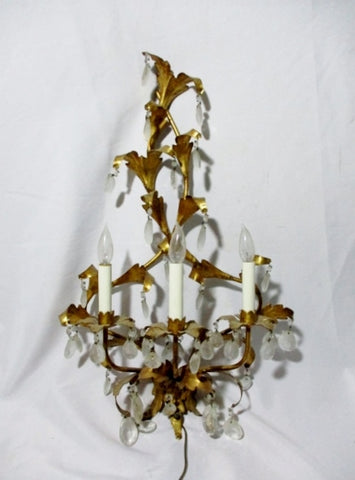 Vintage GILT CHANDELIER SCONCE LIGHT Crystal LAMP GOLD Leaf ELEGANT Electric