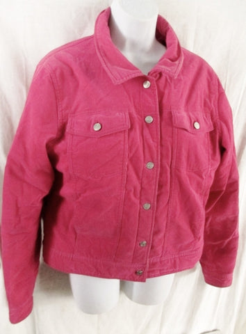 Womens LILLY PULITZER Corduroy Cotton Field Barn JACKET Coat M BERRY PINK FUSCHIA
