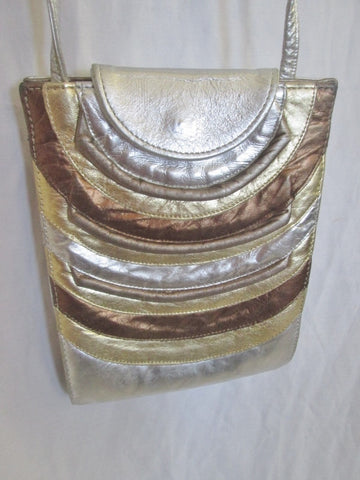 Striped textured leather shoulder crossbody bag swingpack purse pouch SILVER GOLD METALLIC