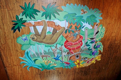 HAND PAINTED WOOD JUNGLE NATURE MONKEY wall hanging Nursery Baby 52X42
