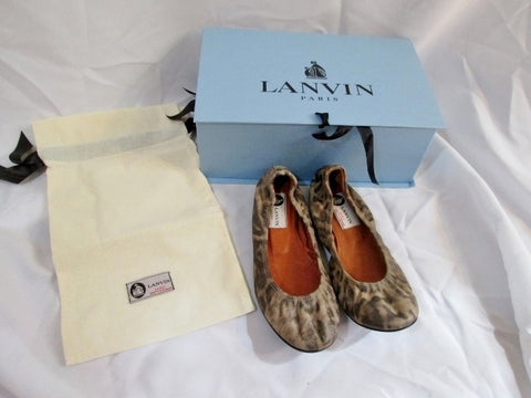 NEW Womens LANVIN PARIS LACELOT Leather Ballet Flat Shoe 36.5 / 6 LEOPARD