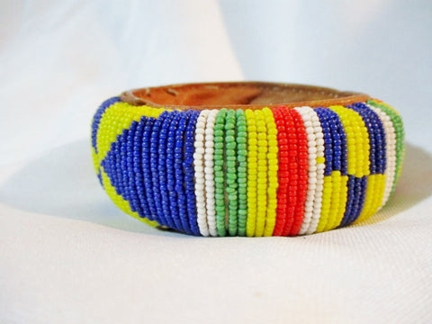 Handmade AFRICA Bead BRACELET Tribal Ethnic Cuff BEAD Bangle RAINBOW Leather
