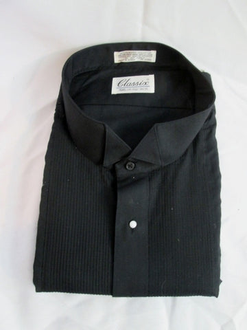 NEW Mens CLASSIX Pleated Tuxedo Shirt BLACK 4XL 34/35 Formal Wedding