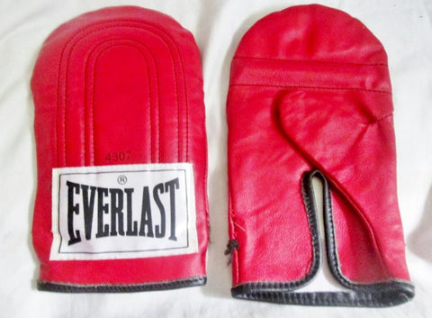 Everlast 4307 Leather Boxing Gloves Sparring Punching Training Gym Fitness RED Crossfit Palm Pad