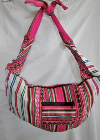 NEW Latin Serape Stripe Kilim Blanket Ethnic Tapestry Sling Shoulder Bag Colorful Boho WHITE
