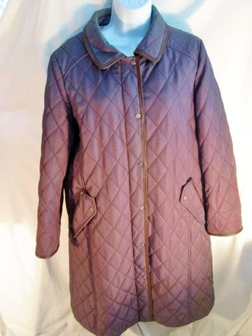 Womens DAKS LONDON Quilted Trench COAT Jacket Parka LINED PURPLE 165 / 4-6 Barn Field