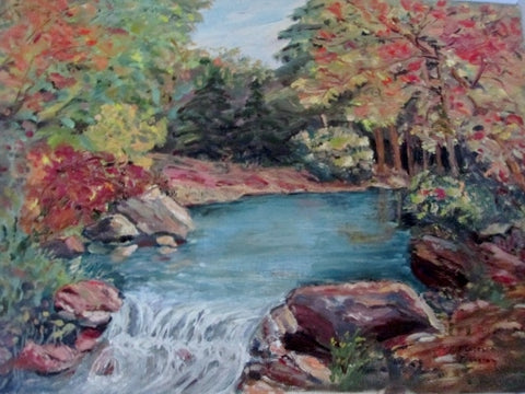 Vintage SIGNED 1960s FLORENCE JOHNSTON PAINTING ART Landscape River Tree Foliage Colorful