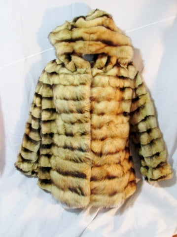 Vintage Womens NEUSTADTER FURS NEW YORK Fur Coat Jacket STRIPED M Bolero