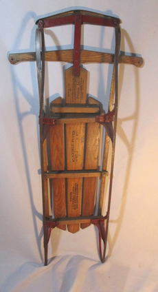 Vintage FLEXIBLE FLYER PLANET JR 47J Snow Sled Wood Rustic Ride Metal Runners