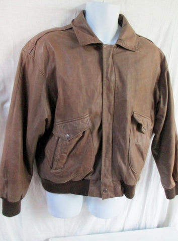 MENS ROUNDTREE & YORKE Leather flight bomber moto jacket coat BROWN XL