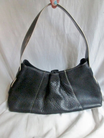 KENNETH COLE NEW YORK pebbled leather handbag rouche hobo Satchel Tote BLACK Boho