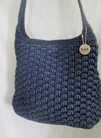 THE SAK Hobo Shoulder Bag Knit Vegan Handbag Purse Hippie Sling BLUE