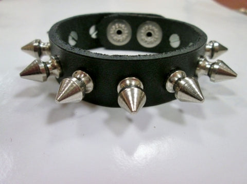 New STOCKO Punk Leather Bracelet Cuff BLACK FETISH SPIKE Industrial Goth Emo - Adjustable