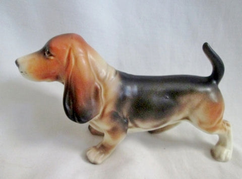 Vtg Antique DOG BEAGLE Hound Ceramic Figurine Porcelain BROWN WHITE