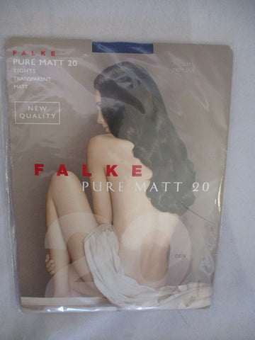 NEW FALKE PURE MATT 20 TIGHTS STOCKINGS Sz S/M  NEON BLUE Transparent