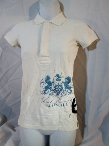 Womens RALPH LAUREN POLO RUGBY SHIRT Top XS WHITE BLUE Shield