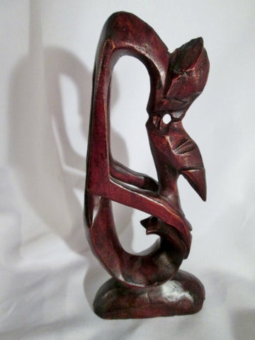 Handmade Carved Wood AFRICAN ART SCULPTURE MAN WOMAN KISSING LOVERS Statue TRIBAL