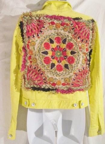 Handmade Womens Denim TAPESTRY YELLOW JEAN JACKET COAT S Boho Hippie