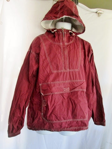 Mens GAP Fitness Running WINDBREAKER  jacket Coat Parka Hood M Red Burgundy