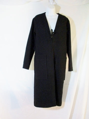 CELINE ITALY WOOL SILK trench maxi jacket coat 34 BLACK Womens Long