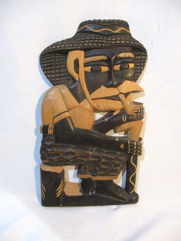 Handmade BRAZIL Carved Wood MAN PIPE SMOKE Sculpture Wall Art Tribal Ethnic Primitive