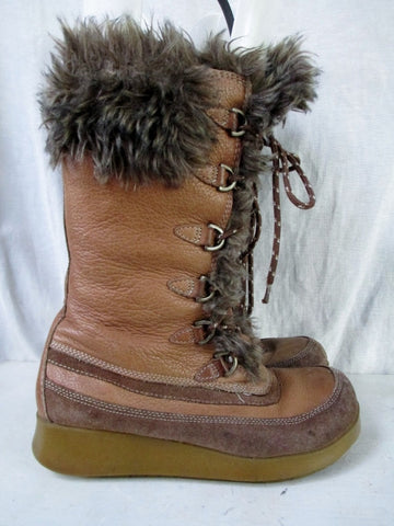 Womens ALDO Sherpa Faux Fur MUKLUK Lace Up Boot Shoe BROWN 6.5 VEGAN