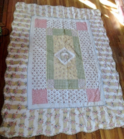 "COUNTRY 82 X 63"" QUILT Blanket Throw Bedspread Cover YELLOW GREEN PINK QUEEN"