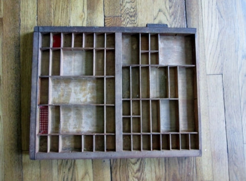 "HAMILTON 21"" Wood Printers Typeset Tray Letterpress Drawer Shadow Box Curio Cabinet"