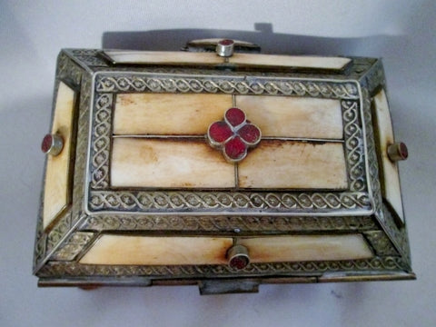 Handmade STONE BONE Silver Inlay CHEST Trinket Box Jewelry Leather Primitive